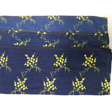Quality 100% Cotton yellow circles pattern embroidery process denim fabric for sale