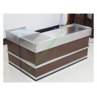 Quality Grocery Store Checkout Cash Register Wrap Counter Steel Coffee Reception Counter for sale