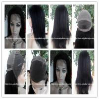 China Human hair full lace wig 10-26L 1b#color italian yaki indian remy hair,120%-180% density wholesale