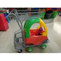 China Hand Push Plastic Kids Shopping Carts With Castors , Movable Store Wire Mesh Basket Trolley wholesale
