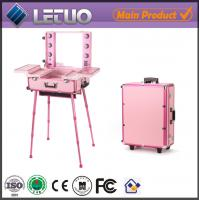 Makeup beauty cosmetic case with lights and stand
