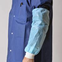 China Blue Nonwoven Disposable Sleeve Covers Arm ProtectorsOil Proof With Knitted Cuff on sale