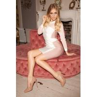China 2014 new arrival high quality nude&white studded long sleeve mesh bandage dress on sale