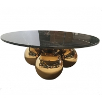 China Gold Plated Feet round 36'' Restaurant Marble Table For Hotel wholesale