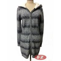 China Customized Lady Casual Thickened Woolen Hooded Coat Long Sweater With Zipper Knitwears for Winter on sale