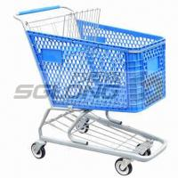 China 125mm Caster Supermarket Shopping Cart Plastic Grocery Carts 20Kg Unit Weight wholesale