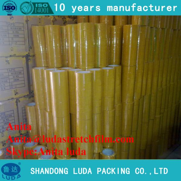 Quality luda hot sale 30mm strong bopp plastic packing adhesive tape roll for sale
