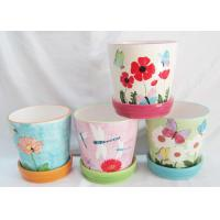 China Dolomite Ceramic Garden Planters 6 inch flower pot Hand Painted with Attached Saucer wholesale
