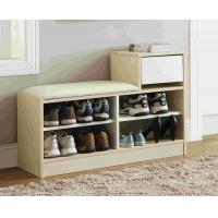 China White Modern Narrow Home Shoe Cabinet Cushion Bench With PB Board Frame wholesale