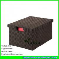 China LDKZ-023 espresso brown home stoage container double woven strap file storage box with lid wholesale