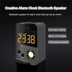 China DY38 Wireless Makeup Mirror Speaker Bluetooth Alarm Clock Megaphone with FM Radio on sale