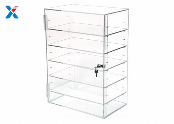 Quality Rectangular Clear Acrylic Display Rack Locking Acrylic Display Case Adjustable Shelves for sale