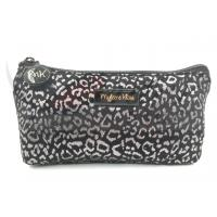 Silver Leopard Zipper Cosmetic Bags , Small Cosmetic Pouch 9X4.5X1.5