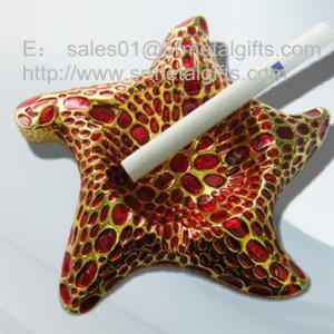 China Red enamel metal souvenir cigarette ashtrays, stylish designer metal souvenir ashtrays, on sale