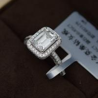 China DEF Color Moissanite Jewelry 18K White Gold Ring Emerald Cut Diamond For Wedding wholesale