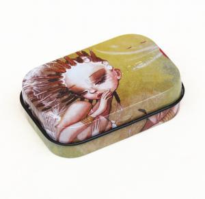 China 65 X 45 X 18mm Rectangular Customized Mini Mint Candy Tin Box With Window Hinge wholesale