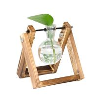 China Desktop Glass Planter Bulb decor  Vase with Retro Solid Wooden Stand Hydroponics Plants Home Garden Wedding wholesale