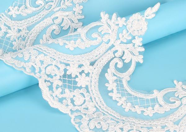 Quality Custom Floral Applique Embroidered Lace Trim Polyester On Nylon Mesh for sale