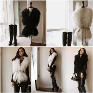 China Women's Sheepskin Vests Sheep Fur Vests Sheep Fur Coats Fur Jackets Sheepskin Coats 2 Colors 52Z wholesale