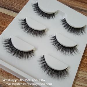 China Wholesale Synthetic Fiber false eyelashes 3D silk lashes with custom eyelash box wholesale