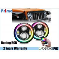 China New 7 Inch Jeep Headlights Running RGB Halo with Amber Signal Bluetooth Remote Music Mode for Jeep Wrangler TJ JK wholesale