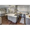 China White Quartz Countertops With Aqua And Brown Flecks kitchen countertops wholesale