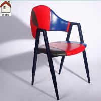 China modern metal ox horn chair with armrest cow horn restaurant chair metal chair C6005 wholesale
