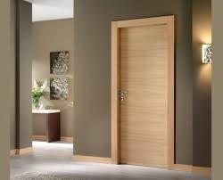 Quality Simple Plywood Flush Panel Wooden MDF Interior Doors For Hotel Break Resistance for sale