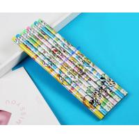 China shrinkable film printed wooden pencil, CMYK printed HB wooden pencil wholesale