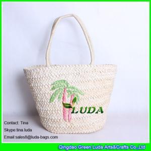 China LUDA vintage straw handbags embrodiered tree cornhusk straw beach bags on sale