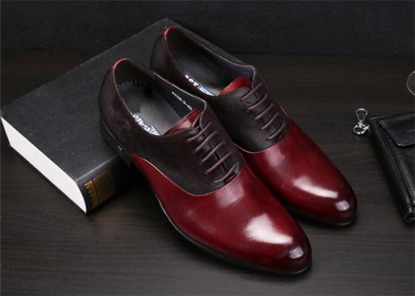 Quality Color Blocking Classic Dress Shoes Fashion Upper With Leather And Suede Sewing Together for sale