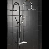 China Hand Held Thermostatic Shower Set Round Curved Pole Shower With Gravity Fed System wholesale