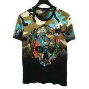 China Full Printing Mens Trendy T Shirts Skulls Pattern Beaded Technics For Summer wholesale