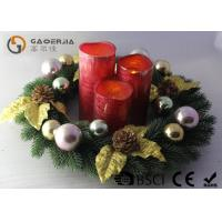 China Advent Wreath With Led Candles Set Of 3 Blow On / Off Multi Function wholesale
