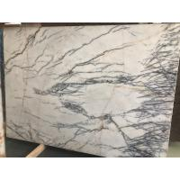 China Disorderly Lines Hoar Stone Slab Tiles Wall Floor White Marble With Gray Vein on sale