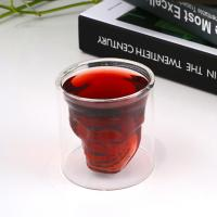 China Pure Handmade Skull Head Shape Double Wallled Glass Beer Whisky Mug Glass Beverage Cup For Bar on sale