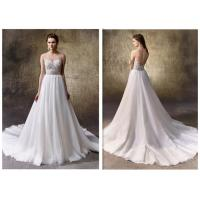 China Lady Backless A Line White Dress / Lace Casual Beach Wedding Dresses wholesale