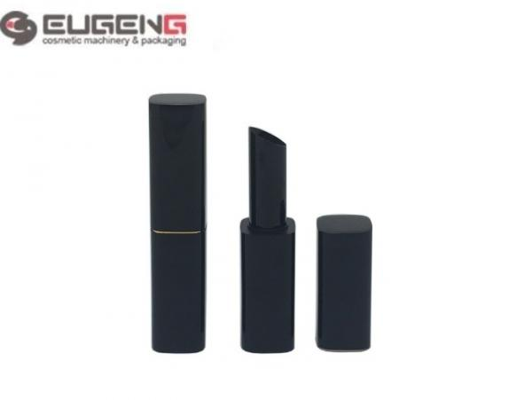 Quality Shiny Black Magnet Empty Lipstick Containers 5 G With Oblique Mouth for sale