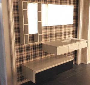 China Floating Vanity Big Mirror Bathroom Vanity Cabinets Quartz Stone Countertop wholesale