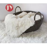 China High Pile Knitted Short Plush Material , White Patterned Plush Fabric 45mm Pile Baby Photography on sale