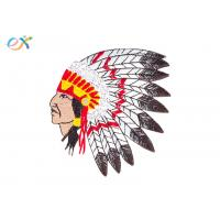 China Custom American Indian Iron On Embroidered  Patches With Laser Cut Border on sale