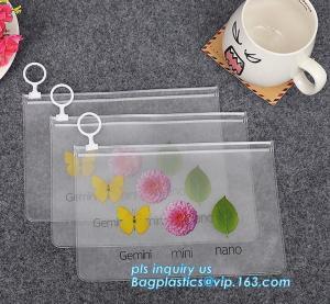 China Transparent Stationery Packaging Bags with Slider, PVC Plastic Zipper Bags For Bra Bikini Packaging, zipper slider closu wholesale