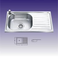 China Round Shape Single bowl Stainless Steel Kitchen Sinks With Drainboard wholesale