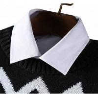 Quality Round Neck Jacquard Mens Knit Sweater European Design Stripe 428g Weight for sale