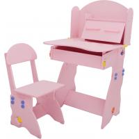 China 18.3KG Pink Solid Wooden Children'S Desk And Chair Set With Hidden Drawer wholesale