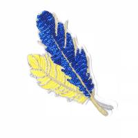 China Simple Style Sequin Applique Patches , Leaves Sequin Patches For Clothes wholesale