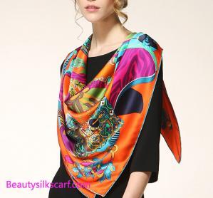 China Digital Printing custom design Square silk scarf, 100% silk twill scarf & shawls on sale