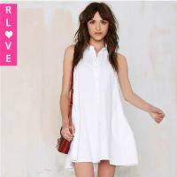 China Europe New halter style collar single-breasted dresses halter sexy female loose dress sale wholesale