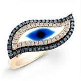 China Lovely Light Rose Turkish silver Evil Eye Murano Glass jewelry finger Ring for lady  wholesale
