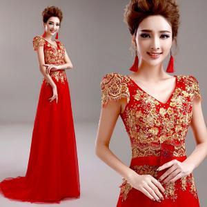 China Red Deep V Neck Embroidery Cap Sleeves Elegant Evening Dresses TSJY040 wholesale